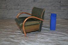 Ancien coffret à cigarettes façon fauteuil années 40 bois,cuivre, imitation cuir