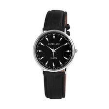 Excellanc Unisexuhr, Uhr mit Lederimitationsarmband schwarz