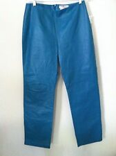 New Vintage 90's pant genuine real leather turquoise blue size 10 12 slim fit