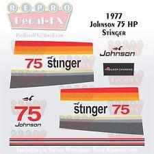 1977 Johnson 75 HP Stinger Outboard Repro 16Pc Vinyl Decals MagnaFlash CD