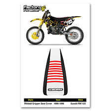 1996-1998 SUZUKI RM 125 Black/White/Red RIBBED SEAT COVER BY Enjoy MFG