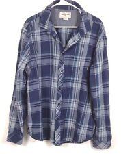 Mens Billabong Blue Plaid LARGE Long Sleeve Button Flannel Shirt