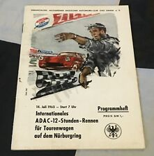 ORIGINAL 1963 NURBURGRING 12 HOURS TOURING CARS RENNEN PROGRAMME ABARTH 1300 GT