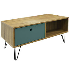 Low Coffee Table With Drawer & Shelf 90cm Metal Legs Entertainment Storage Unit