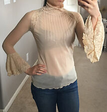 Express Nude Sheer Mesh Lace Victorian High Neck Flare Bell Sleeve Top Blouse S