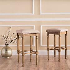 Set of 2 Elegant French Design Upholstered Counter Stools
