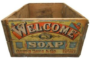 WELCOME SOAP BOSTON MA RED/BLK INK STMPD WOOD BOX ADV CRATE, W/ORIG PAPER LABEL