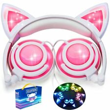 Pink Cat Ear Headphones. Great headphones for Girls. Rechargeable. LED