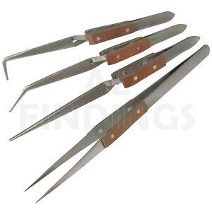 4 Angled & Straight Self Cross Locking Soldering Tweezers Watch Tool Set