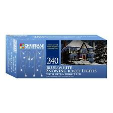 240 Blue & White Christmas Workshop Snowing Icicle Lights 5m
