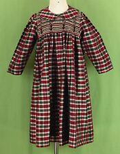 227 Strasburg girl 100% SILK plaid dress collar smocked ruffle holiday EUC 4
