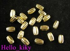 300Pcs  Antiqued gold plt streaky barrel spacer bead A246