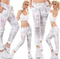 Italy Moda Chino Stoff Hose Pants Baggy Boyfriend Stern Blumen Print 38 - 40