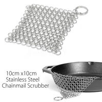 10x10cm Stainless Steel Chainmail Ring Scrubber Cast Iron Skillet Pot Cleaner