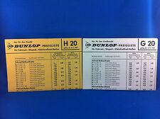 2 Dunlop Preislisten Fahrrad Moped Kleinkraftrad Roller Reifen G20 H20 H31 1969
