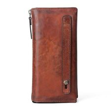 Men Wallet Genuine Leather Clutch Handmade Retro Phone Male Purse Vintage 1pc