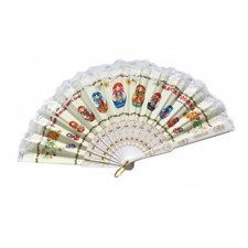 New listing Folding Hand Fan in White with Nesting Dolls Pattern