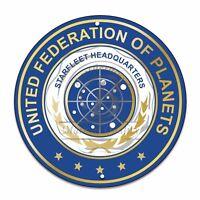 "Star Trek Starfleet Headquarters Federation of Planets 12"" Circle Aluminum Sign"