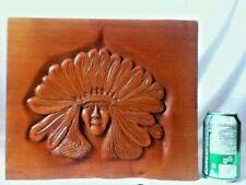 LARGE Signed Hand Carved Native American Hanging Folk Art Woodblock Portrait