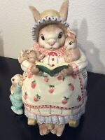 Fitz & Floyd  Cookie Jar  Mother Rabbit Reading To Bunnies  1992