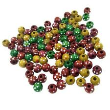 100x Printed Dots Round Wooden Beads Jewelry Making Loose Spacer Beads 13mm