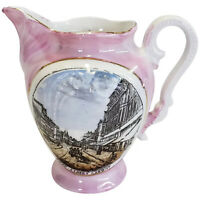 Pink Luster Queen Street Cardiff England Small Souvenir Pitcher Made in Germany