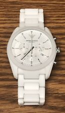 Emporio Armani AR1493 Matte White Ceramic Chronograph Women's Sport Watch Used