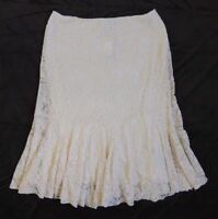 $175 Ralph Lauren Natural Embroidered Stretchy Lace Tulle Polo Cream Skirt 16 XL
