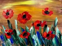 FLOWERS RED  IMPRESSIONIST LARGE ORIGINAL OIL  PAINTING G5H4H
