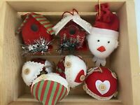 Set Christmas Birds & Bird House Plush Hanging Ornaments Tree Home Party Decor