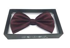 Dark Burgundy Men Women Bowtie Classic Clip-On Neck-wear Tuxedo Adjustable