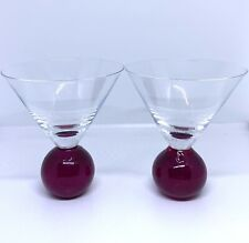 Set Of 2 Red Bubble Ball Base Bottom Martini Margarita Glasses Cosmo Hand Blown