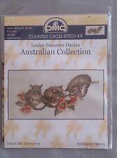 Possums cross stitch by Lesley Davies - DMC Australian Collection 23 x 9 cm 16ct