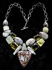 Artistic 925 Silver Overlay Picture Jasper / Pearl / Druzy & Gem Necklace