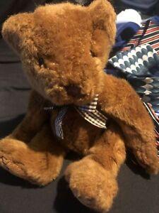 "Bromley Teddy Bear Russ Berrie plaid bow corduroy paws 10.5"" Bean Bottom Plush"