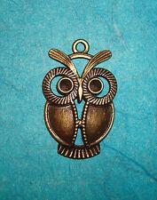 Pendant Owl Charm Bronze Animal Charm Birds Hoot Owl Wings Charms Feathers