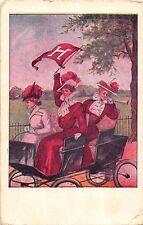 B45/ College Girls Series Postcard c1910 Pretty 1908 Harvard Automobile Pennant1