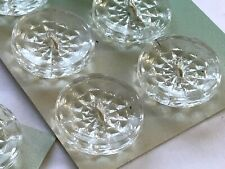"""Vintage Buttons -  6 Clear Glass Carved Round 2-hole 5/8""""  Buttons - France"""