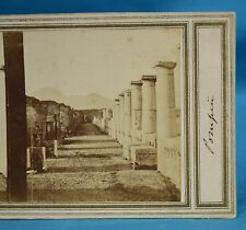 1860s Italy Stereoview Photo Gauche Du Forum Pompeii Early Manuscript Title