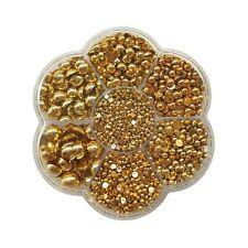 Chenkou Craft 3000PCS 1 Box Gold Round Flatback Half Pearls Bead Loose Beads ...