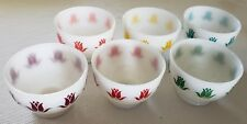 6 FIRE KING TULIP COTTAGE CHEESE BOWLS PINK, RED, PURPLE, GREEN, YELLOW, BLUE