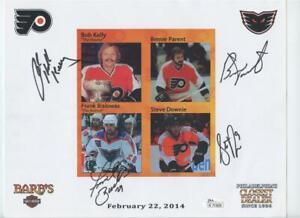Flyers Hockey Signed Autographed 8x10 Bernie Parent Bob Kelly Bialowas JSA COA