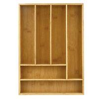 Heim Concept Organic Bamboo Utility Drawer 6-Slot Organizer Cutlery Tray