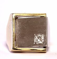 18k yellow white gold gents .23ct SI2 H diamond ring mens 14.9g vintage signet