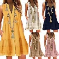 Summer Women's Boho Dresss V-Neck Sleeveless Loose Tunic Short Dress Plus Size