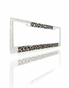 MYBAT Brown Leopard Design License Plate Frames with Double Row Shining White