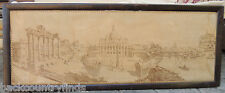 Antique Framed Tapestry of ROMA Vatican City Water Damage 20 1/2 x 53 1/2""