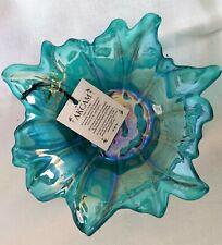 """Handmade Akcam Iridescent Blue Turkish Art Glass Bowl 6 1/2""""   NEW"""