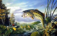 Terry Doughty ''First Strike'' Bass Fishing  Art Print-  12''x 7.75''
