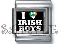 I LOVE (HEART) IRISH BOYS 9MM ITALIAN CHARM LINK boy man lover ireland celtic